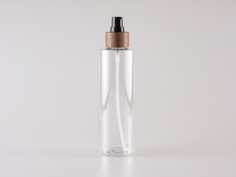 "PET Flasche ""Sharp"" 250ml, mit Lotionspumpe Walnut"